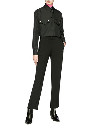 Figure View - Click To Enlarge - CALVIN KLEIN 205W39NYC - Logo embroidered long sleeve turtleneck T-shirt