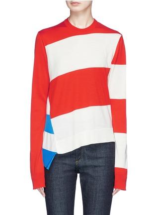 Main View - Click To Enlarge - CALVIN KLEIN 205W39NYC - Stripe asymmetric hem sweater