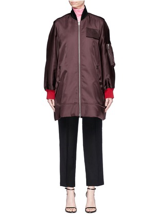 Main View - Click To Enlarge - CALVIN KLEIN 205W39NYC - Detachable logo patch satin bomber jacket