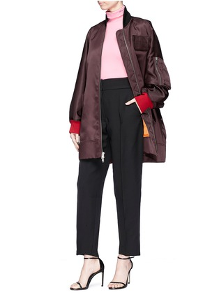 Figure View - Click To Enlarge - CALVIN KLEIN 205W39NYC - Detachable logo patch satin bomber jacket