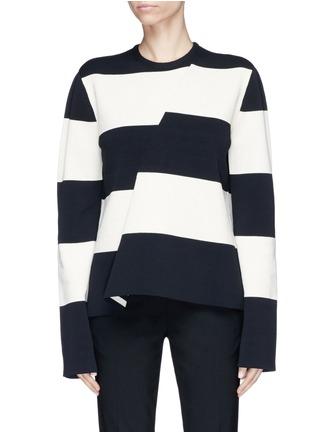 Main View - Click To Enlarge - CALVIN KLEIN 205W39NYC - Asymmetric stripe sweater