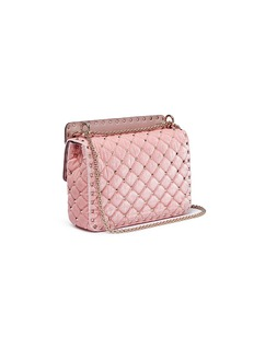 Valentino 'Rockstud Spike' medium quilted velvet crossbody bag
