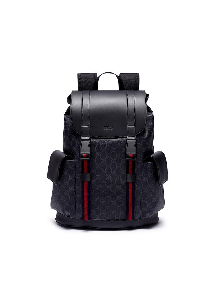 2f30892d8eb0 GUCCI | Web stripe GG supreme canvas backpack | Men | Lane Crawford
