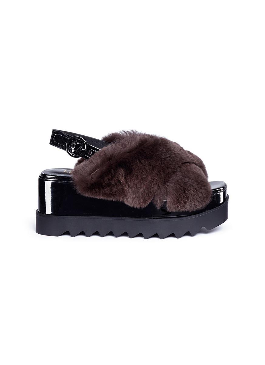 Faux fur cross strap slingback platform sandals by Pedder Red