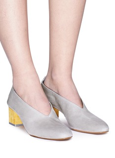 Gray Matters 'Mildred' geometric heel choked-up suede pumps