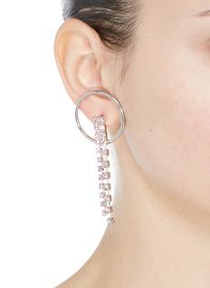 Joomi Lim 'Mad Maximalism' Swarovski crystal fringe hoop earrings