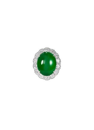 Main View - Click To Enlarge - SAMUEL KUNG - Diamond jadeite 18k white gold ring