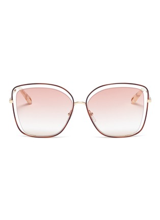 Main View - Click To Enlarge - Chloé - 'Poppy' metal butterfly sunglasses