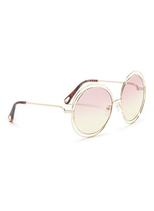 Figure View - Click To Enlarge - CHLOÉ - 'Carlina' overlap wire rim round sunglasses