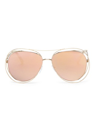 Main View - Click To Enlarge - Chloé - 'Carlina' overlap wire rim round metal mirror sunglasses