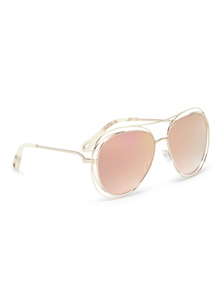 Figure View - Click To Enlarge - Chloé - 'Carlina' overlap wire rim round metal mirror sunglasses