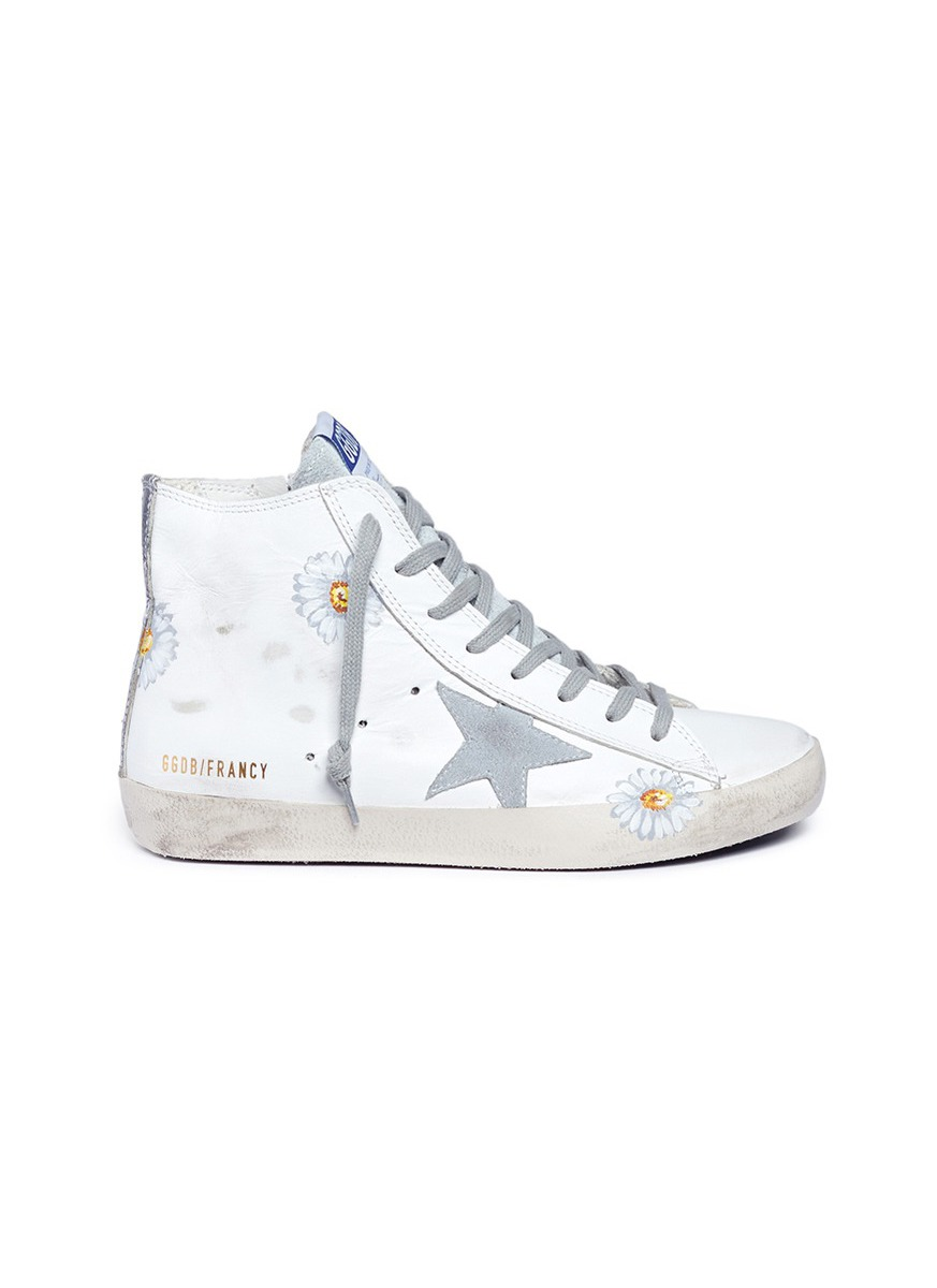 Francy sunflower print leather high top sneakers by Golden Goose