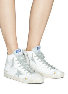 Golden Goose 'Francy' sunflower print leather high top sneakers