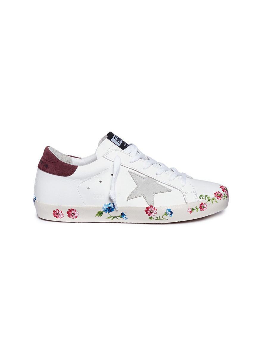 Superstar floral print calfskin leather sneakers by Golden Goose