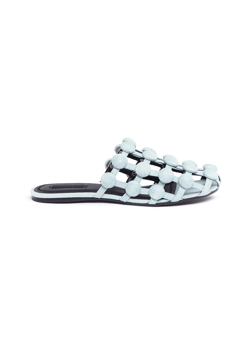 Amelia dome stud caged denim slides by Alexander Wang