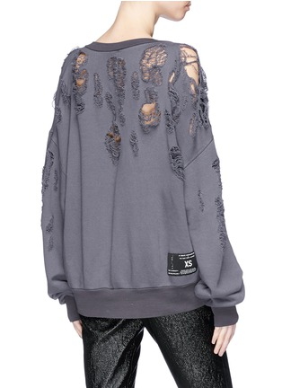 Back View - Click To Enlarge - Ben Taverniti Unravel Project  - Distressed sweatshirt