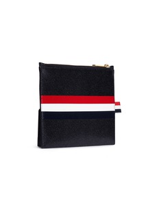Thom Browne Stripe pebble grain large zip pouch