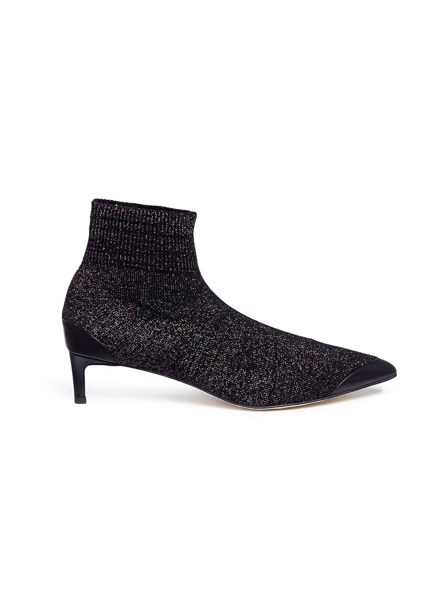 Jake Lurex knit ankle sock boots by Pedder Red