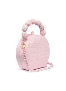 Nancy Gonzalez Beaded handle round crocodile leather bag