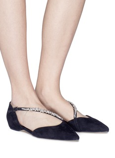 Pedder Red 'Kelly' jewelled strap suede d'Orsay flats