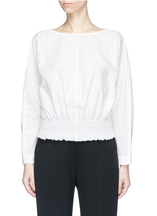 Main View - Click To Enlarge - KUHO - 'Rohe' smocked waist poplin blouse