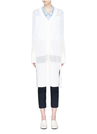 Main View - Click To Enlarge - KUHO - 'Mirror' sheer panel long cardigan