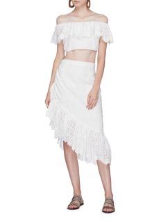 LoveShackFancy 'Alana' asymmetric ruffle broderie anglaise skirt