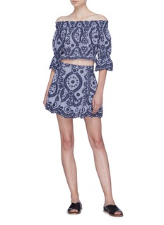 LoveShackFancy 'Elize' graphic embroidered peplum skirt