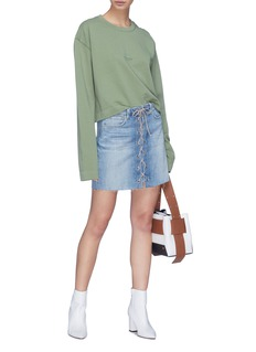L'Agence 'Portia' lace-up front denim skirt