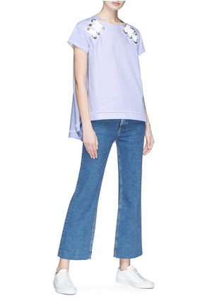 Figure View - Click To Enlarge - Sacai - Eyelet lace-up poplin top