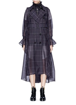 Main View - Click To Enlarge - Sacai - Tweed jacket panel belted check trench coat