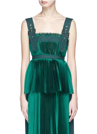 Main View - Click To Enlarge - Sacai - Belted shoulder strap plissé pleated top