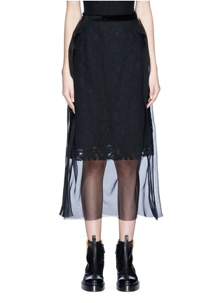Main View - Click To Enlarge - Sacai - Chiffon overlay floral lace skirt