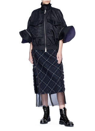 Figure View - Click To Enlarge - Sacai - Puff sleeve side zip oversized jacket