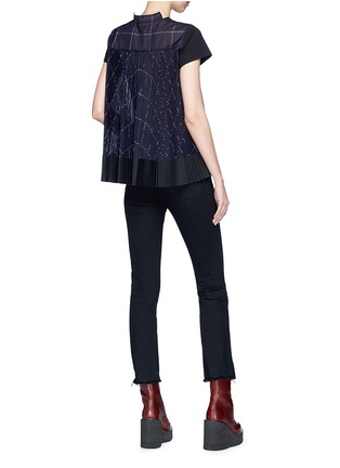 Figure View - Click To Enlarge - Sacai - Check chiffon shirt back cotton T-shirt