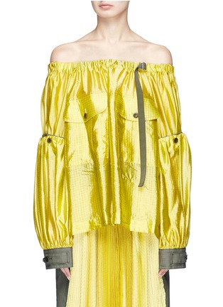 Main View - Click To Enlarge - Sacai - Detachable sleeve off-shoulder grid silk top