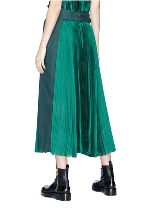 Back View - Click To Enlarge - Sacai - Belted panel outseam plissé pleated skirt