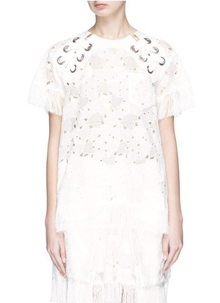 Main View - Click To Enlarge - Sacai - Heart broderie anglaise fringe eyelet lace-up top