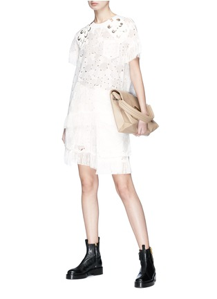 Figure View - Click To Enlarge - Sacai - Heart broderie anglaise fringe eyelet lace-up top