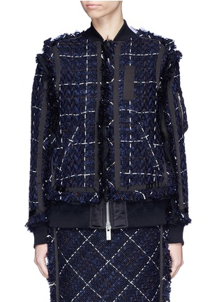 Main View - Click To Enlarge - Sacai - Windowpane check tweed bomber jacket