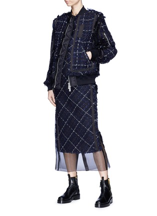 Figure View - Click To Enlarge - Sacai - Windowpane check tweed bomber jacket