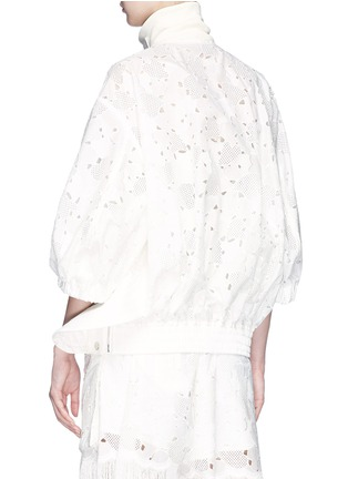 Back View - Click To Enlarge - Sacai - Quilted gusset heart broderie anglaise zip jacket