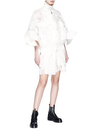 Figure View - Click To Enlarge - Sacai - Quilted gusset heart broderie anglaise zip jacket