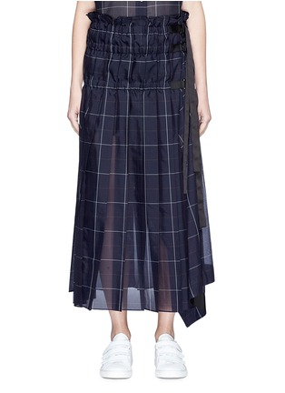 Main View - Click To Enlarge - Sacai - Belted ruched windowpane check wrap skirt