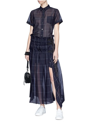 Figure View - Click To Enlarge - Sacai - Belted ruched windowpane check wrap skirt