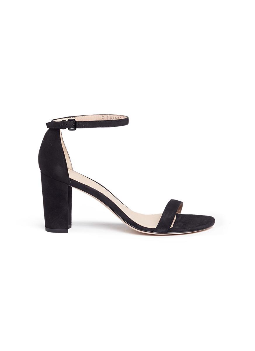 Nearly Nude block heel suede sandals by Stuart Weitzman