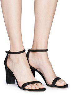 Stuart Weitzman 'Nearly Nude' block heel suede sandals