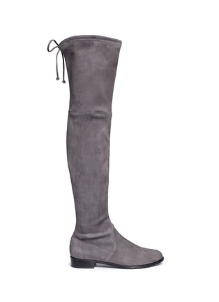 Main View - Click To Enlarge - Stuart Weitzman - 'Low Land' stretch suede thigh high boots