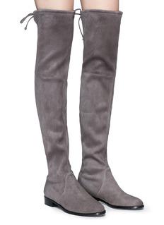 Stuart Weitzman 'Low Land' stretch suede thigh high boots