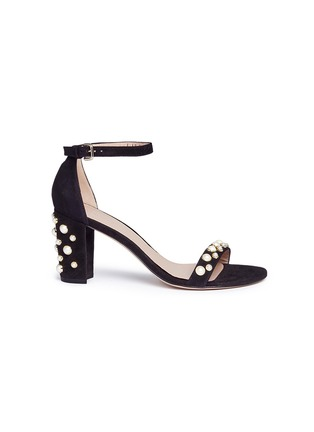 Main View - Click To Enlarge - Stuart Weitzman - 'Bing Pearls' embellished suede sandals